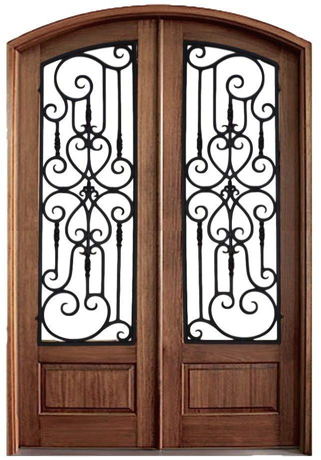 Iron Overlay Mahogany Doors